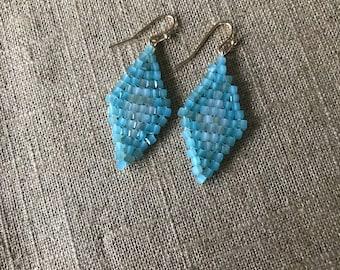 Blue cube bead earrings