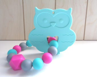 Owl Teething Toy, Silicone Teething Toy, Baby Teether, Silicone Teether, Baby Shower Gift, Birth Gift, Baby Teething Toy, Woodland Toy
