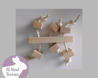 Wooden Sisal Rope Handmade Bunny Rabbit Toy Boredom Breaker