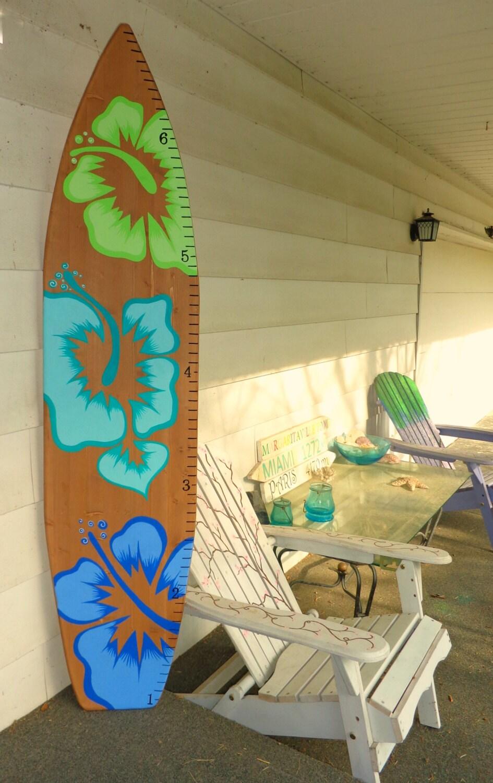 6 Foot Wood Hawaiian Surfboard Wall Art Decor Growth chart for