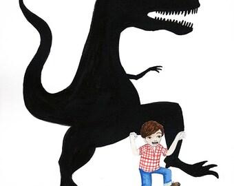 Print Illustration, Watercolor Art - Boy Pretends to be Dinosaur, Child imagination, Open Edition, 5x7