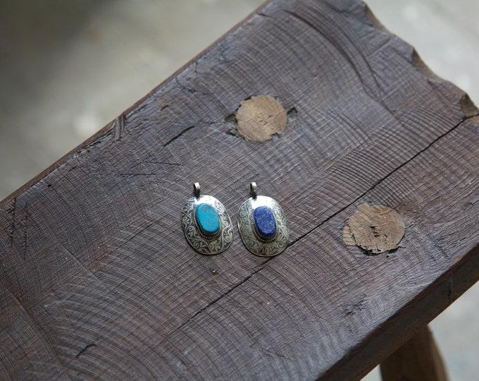 Afghan silver charms with lapis lazuli & turqoise