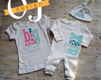 Big Sister Little Brother Personalized Baby Boy Newborn Gift Set- Name Boy Aqua Gray Infant Sleeper and Knot Hat Big Sister Shirt