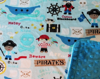 Minky Blanket Pirates Print Minky with Dark Turquoise Dimple Dot Minky Backing - Great Gift for a Baby or Toddler LAST ONE AVAILABLE