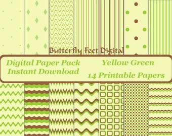 Digital Paper Pack Yellow Green, 14 Printable Designs, Scrapbooking, Card Making, Paper Crafting, Instant Download
