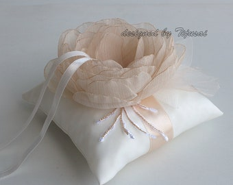 Wedding ring bearer pillow with beige flower and leaves-ring holder, ring pillow-ready to ship