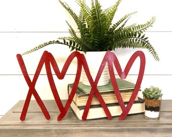 Xoxo Wood Cutout Valentine's Day Home Decor, Red Love Wood Word, Scroll Cutout Word