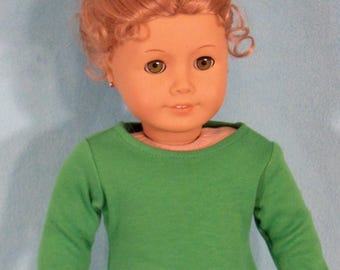 American Made 18 inch Doll Long Sleeved Apple Green Crew Tee-Shirt