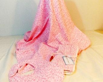 Layette Set Flannel Blanket, bib and burp cloths set  pink polka dots print