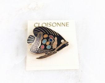 Vintage Cloisonne Enamel Fish Brooch