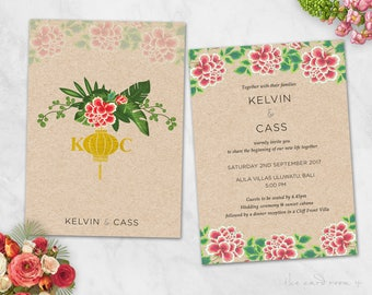 Wedding Invitation and RSVP Card Suite - Wood background with bright flowers - Printables