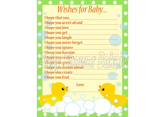 Elegant Rubber Duck Baby Shower Game Wishes For Baby Card Rubber