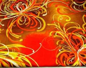 "Vintage 1960's Retro Fabric 4 Yards 42"" Wide Mod Hippie Boho Home Decor Gold Brown Orange Yellow"