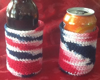Set of 2 Red White Blue cotton can or bottle cozy