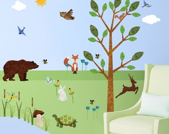 Forest Wall Sticker Set – 37 Peel & Stick Woodland Decals for Nature Theme Baby Nursery and Kids Forest Room - MINI SET (#1249-17)