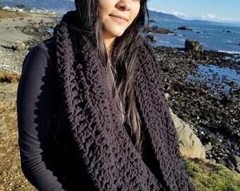 Blanket scarf crochet wrap infinity scarf winter gifts black scarf warm scarf crochet scarf blanket wrap cowl