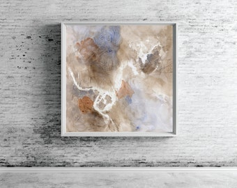 """Abstract wall art, Large Painting, Giclee print, brown blue gray neutral, """"Glyph 3d"""""""