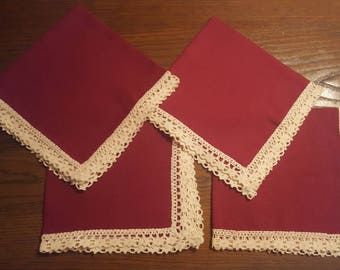 Cranberry red dinner napkins set of 4 linen with lace