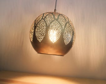 Moroccan Pendant Light, Modern Design Handmade Moroccan Lamp, Oriental  Arabic Pattern, Golden Copper
