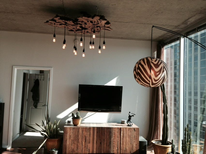 Create your own extra large live edge slab light fixture with - Make your own light fixture ...