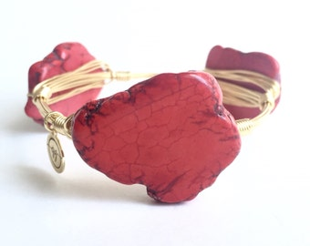 Red Howlite Stone Wire Bangle, Wire Bangle, Bourbon and Boweties Inspired