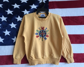Vintage 90s Missoni Sport Sweater Pullover Multicolour Spell Out Missoni Sport Sweatshirt Yellow Colour Missoni Sport Shirt Medium Size