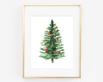Watercolor Christmas Tree Holiday Digital Printable Art Print
