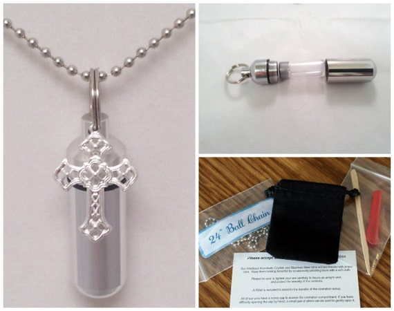 "COMPLETE SET - Cremation Urn & Vial on 24"" NECKLACE  with Silver Filigree Cross - Custom Hand Assembled.... With Velvet Pouch and Fill Kit"