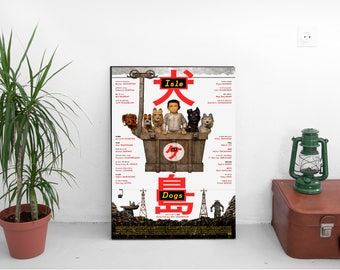 "Isle Of Dogs Movie Poster - Wes Anderson Film Print - Bryan Cranston Edward Norton - Japanese Art Print Poster -  Size 13x20"" 24x36"" 32x48"""