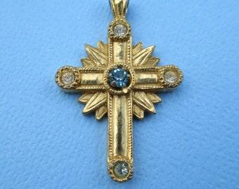 Vintage Avon Gold Tone Crystal Cross
