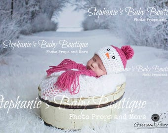Crochet Newborn, 0-3M, 3-6 Months, Baby Frosty The Snowman Scarf and Hat Set, Custom Made, Christmas, Holiday, Photo Prop, Shower Gift