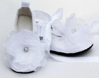 Easter White Baby Shoes, Silk Toddler Ballet Slipper, Flower Girl, Little Girl Wedding Ballet flat, Christening, Baptism, Baby Souls Couture
