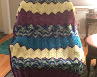 Teal, plum, yellow and variegated ripple afghan
