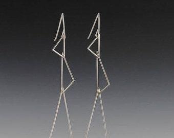 Triple triangle dangle earrings