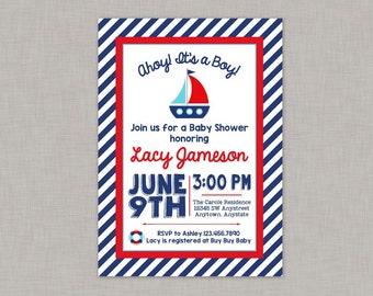 Nautical Baby Shower Invitation, Nautical Invitaiton, Nautical Baby Shower, Sailboat