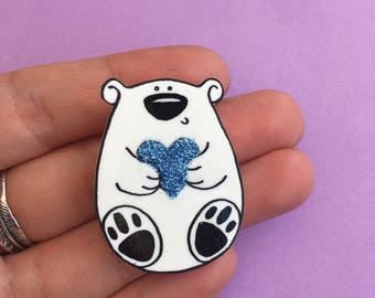 Bentley The Polar Bear Handmade Brooch, Shrink Plastic Hand Drawn Jewellery, Blue Glitter Heart, Frozen Planet, Cute Bear Gift