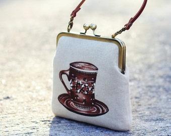 Kiss lock purse, Top handle handbag, Metal frame purse with leather strap