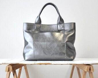 CAMILLA BAG Borsa in pelle, borsa a mano, borsa pelle color canna di fucile, borsa in pelle metallizzata, borsa grigio metallizzato