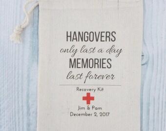 10 Wedding Favors, Bachelorette Party Favor, Hangover Kit, Survival Kit, Birthday Favor Custom - Hangovers Last Red Cross