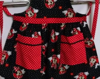Girls Apron Minnie Mouse Apron with Pockets Toddler Apron Girls Apron