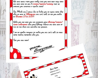 Personalised Letter from Mickey and Matching Envelope Announcing Your Trip