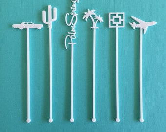 Palm Springs Party Drink Stirrers - Palm Springs Bachelorette - Set of 6 Laser Cut Acrylic Swizzle Sticks
