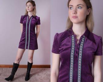 Vintage 1960's | Purple | Velour | Micro Mini | Mod | Scooter I Dress I Large Collar I S