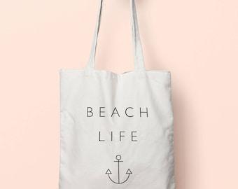 Beach Life Tote Bag Long Handles TB00565