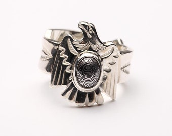 Sterling Silver Eagle Ring   Mens Eagle Rings   Native American Inspired   Tribal Ring   Navajo Pattern Ring   Adjustable Ring   Silver Ring
