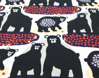Tablecloth white black bears purple grey orange berries Animal Scandinavian Design , napkins , runners , curtains available, great GIFT
