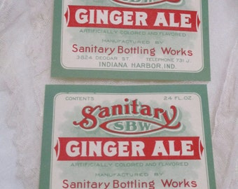 Vintage Sanitary Ginger Ale Labels-Ephemera-12 pieces-New Old Stock-Indiana
