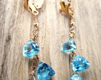 December Birthstone Earrings | Christmas Gift For Her | Topaz Birthstone Jewelry | Blue Topaz Earrings | Gemstone Dangle Earrings | Birthday