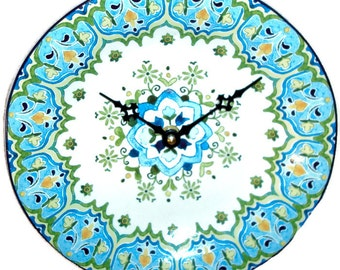 Turquoise and Lime Floral Patterned Wall Clock, 9 Inch Ceramic Plate Wall Clock, Unique Wall Decor, Unique Wall Clock - 2449