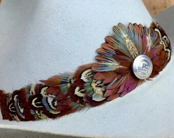 Feather hat band on deerskin w/ties, vintage belt tips & sterling silver accent- pheasant feathers in brown and blue